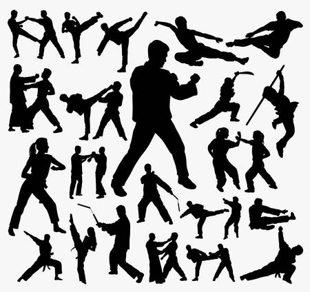 Martial art and kungfu silhouette. Good use for symbol, logo, web icon, mascot, sign, sticker, or any design you want. Иллюстрация