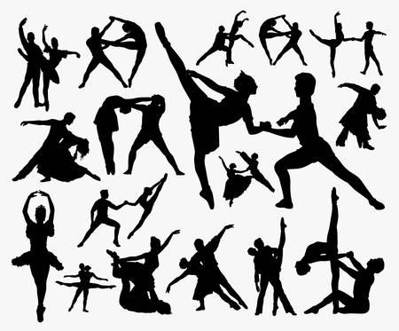Silueta de ejercicio de baile. Buen uso de símbolo, logotipo, icono web, mascota, letrero o cualquier diseño que desee. Logos