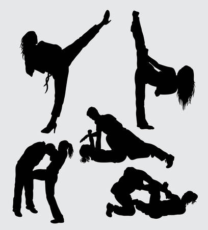 Duel martial art sport silhouette male and female action Illusztráció