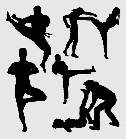 Martial art extreme sport silhouette