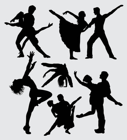 Couple ballet dance silhouette. Good use for symbol, logo, web icon, mascot, sticker, or any design you want.