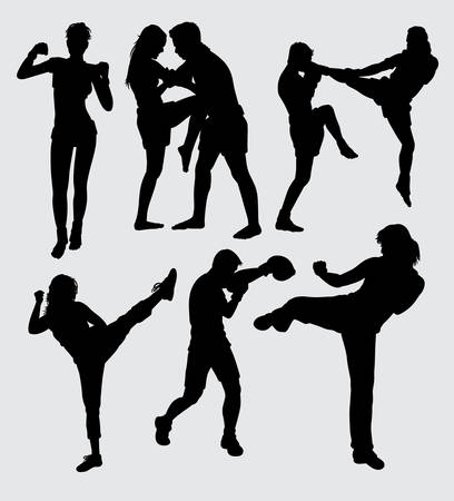 Fighting duel silhouette. Good use for symbol, logo, web icon, mascot, sticker, or any design you want. Иллюстрация