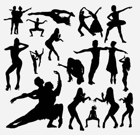 Dancer male and female action silhouette for symbol, logo, web icon, mascot, game elements, mascot, sign, sticker design, or any design you want. Easy to use. Logo