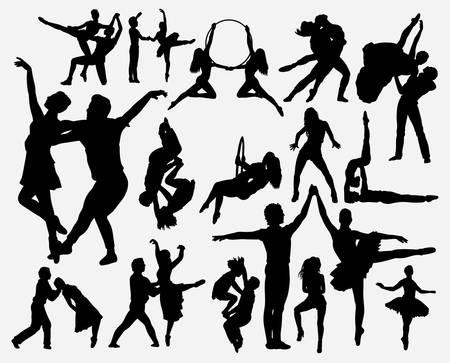 Paartanzsilhouette für Symbol, Logo, Websymbol, Maskottchen, Spielelemente, Maskottchen, Zeichen, Aufkleberdesign oder jedes gewünschte Design. Einfach zu verwenden. Logo