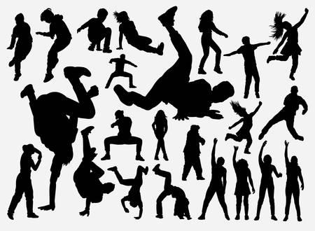 Silhouette d'entraînement de breakdance et de hiphop pour le symbole, le logo, l'icône Web, la mascotte, les éléments de jeu, la mascotte, le signe, la conception d'autocollants ou tout autre design de votre choix. Facile à utiliser. Logo