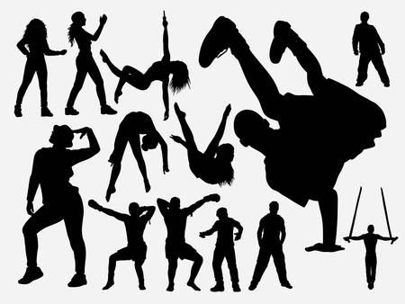 Hip-Hop- und Akrobat-Tanzsilhouette für Symbol, Logo, Web-Symbol, Maskottchen, Spielelemente, Maskottchen, Zeichen, Aufkleberdesign oder jedes gewünschte Design. Einfach zu verwenden.