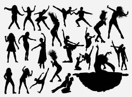 Dancing activity silhouette for symbol, logo, web icon, mascot, game elements, mascot, sign, sticker design, or any design you want. Easy to use.