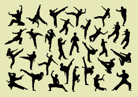 Martial art silhouette