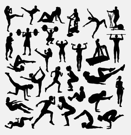 Fitness aerobic yoga sport silhouette