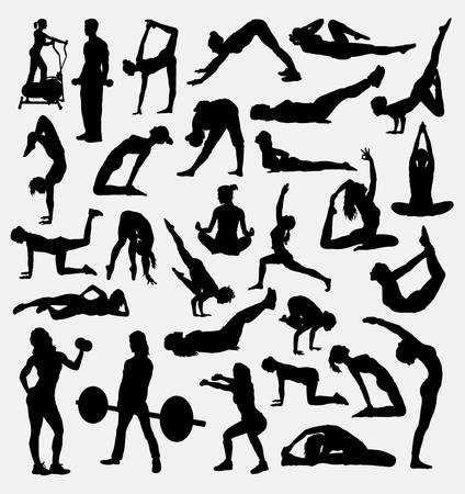 Silueta de deporte de yoga aeróbico fitness