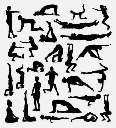 Silhouette de danse et d'acrobate pour le symbole, le logo, l'icône Web, la mascotte, les éléments de jeu, la mascotte, le signe, la conception d'autocollants ou tout autre motif de votre choix. Facile à utiliser.