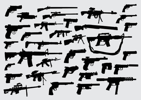 Gun, pistol, weapon silhouette good use for symbol, logo, web icon, mascot, sign, or any design you want 일러스트
