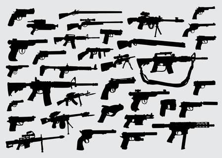 Pistolet, pistolet, sylwetka broni, która dobrze nadaje się do symbolu, logo, ikony internetowej, maskotki, znaku lub dowolnego projektu, który chcesz Logo