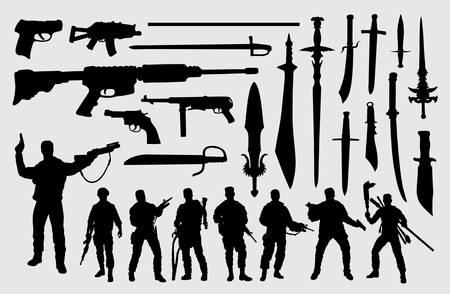 Soldat, arme à feu et silhouette d'épée bon usage pour le symbole, le logo, l'icône Web, la mascotte, le signe ou tout autre design de votre choix.