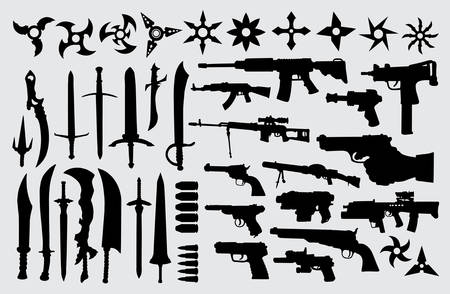 Gun, pistol, sword and knife silhouette good use for symbol, logo, web icon, mascot, sign, or any design you want Illustration