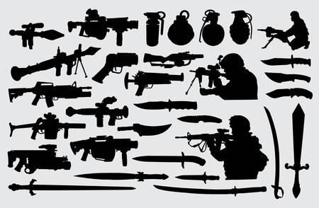 Broń, pistolet, nóż, miecz i żołnierz. Dobre wykorzystanie symbolu, logo, ikony internetowej, maskotki, znaku lub dowolnego projektu, który chcesz. Logo
