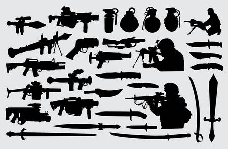 Weapon, gun, knife, sword and soldier. Good use for symbol, logo, web icon, mascot, sign, or any design you want. Иллюстрация