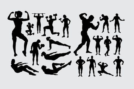 Fitness and body building silhouette