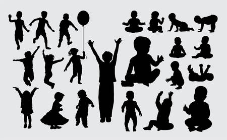 Kid playing silhouette