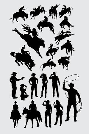 Cowboy people silhouette 矢量图像