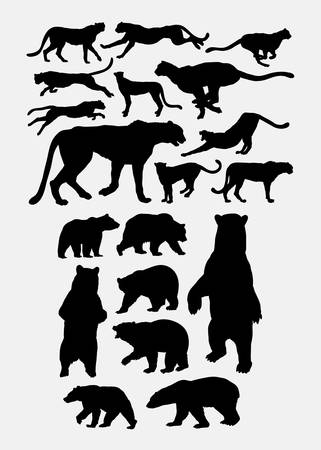Cheetah and bear animal silhouette