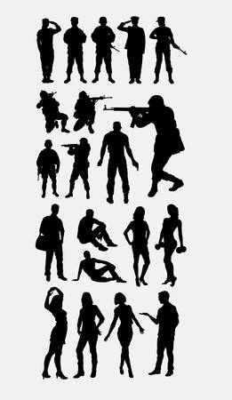 soldier army and people silhouette