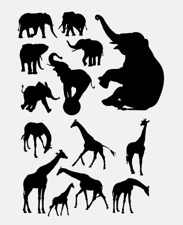 Elephant and giraffe animal silhouette