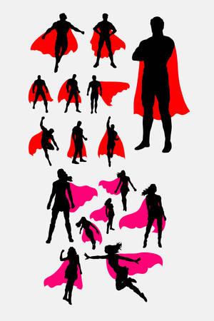 Silhouette de super-héros masculins et féminins