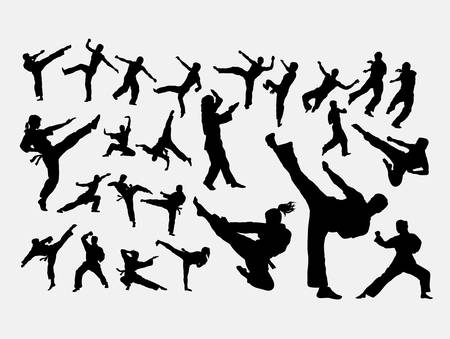 Karate martial art sport silhouette Illustration