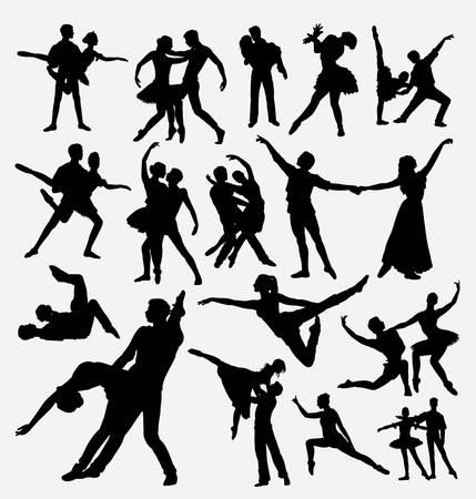 Silueta de bailarines de pareja