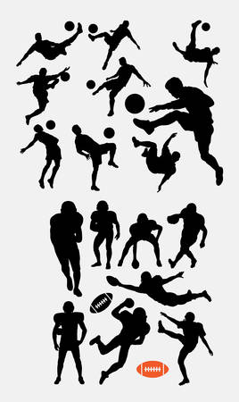 Soccer and american football sport silhouette