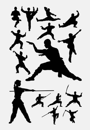 Kungfu martial art silhouette