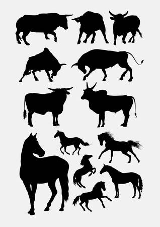 Bull and horse silhouette