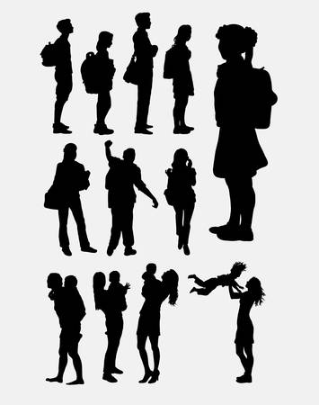 People activity silhouette Ilustrace