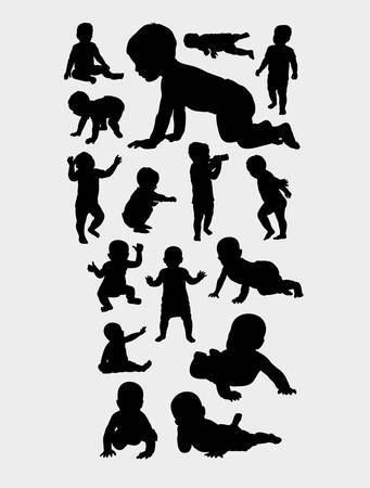 babies action silhouette, good use for symbol, web icon, mascot, logo, sign, sticker, or any design you want. Easy to use Иллюстрация