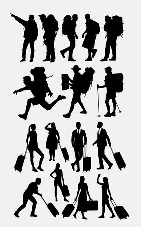 Hiking and traveling silhouette