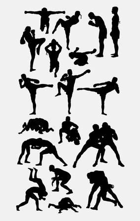 Thai boxer martial art silhouettes 矢量图像