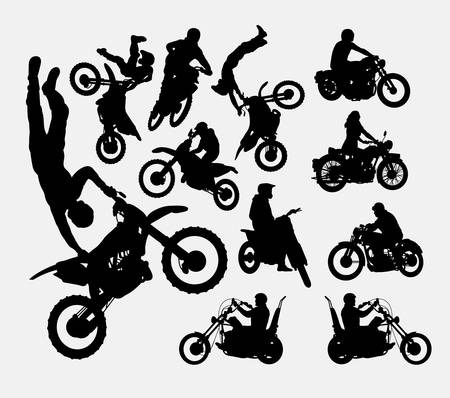 Motocross motorcycle sport silhouettes
