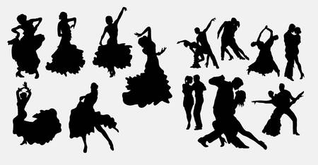 Tango and latin couple dancer silhouettes
