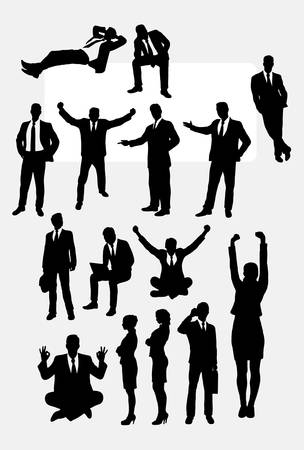 Businessman and businesswoman silhouettes Ilustrace