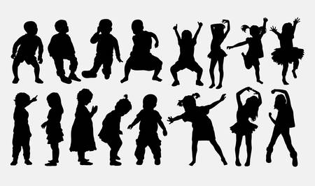 Kid, little girl dancing silhouettes. Good use for symbol, web icons, logo, or any design you want. Ilustração