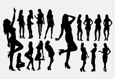 Siluetas de pose casual de niña. Buen uso de símbolo, logotipo, icono web, mascota o cualquier diseño que desee. Fácil de usar.