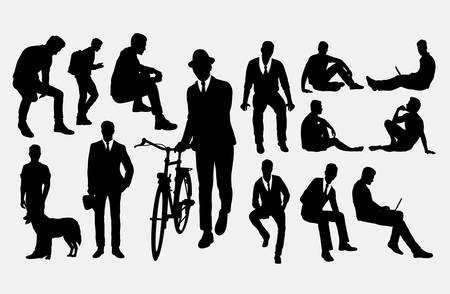 Siluetas de acción de hombre. Buen uso de símbolo, logotipo, icono web, mascota o cualquier diseño que desee. Logos