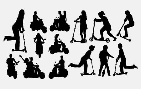 People riding scooter silhouettes. Good use for symbol, web icon, logo, mascot, or any design you want. Easy to use.
