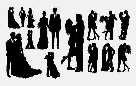 Boda, hombre y mujer en siluetas de amor. Buen uso de símbolo, logotipo, icono web, mascota o cualquier diseño que desee.