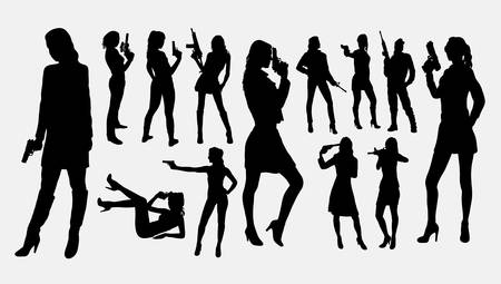 Girl with gun silhouettes. Good use for symbol, logo, web icon, mascot, sign, or any design you want. Easy to use.