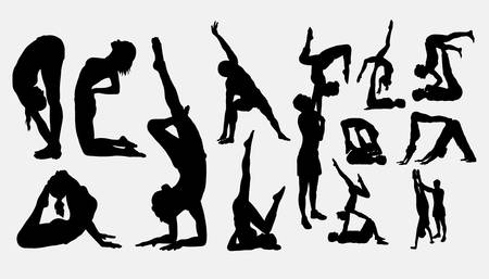 Fitness and yoga sport silhouette