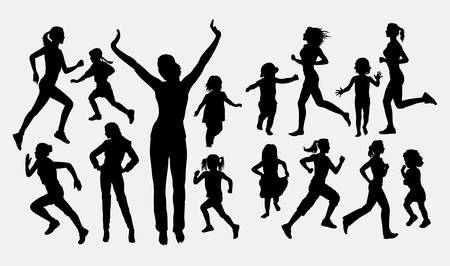 Girl and children running activity silhouettes. Good use for symbol, logo, web icon, mascot, or any design you want. Easy to use.