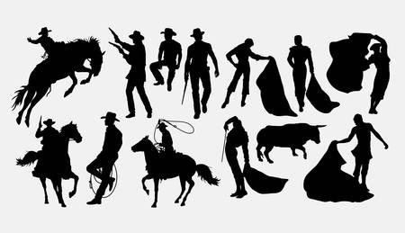 Cowboy and matador silhouette Illustration