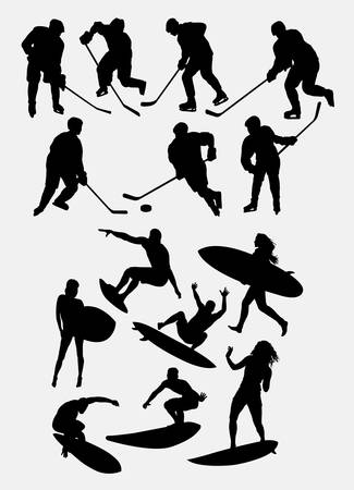 Ice skating and surfing sport silhouette